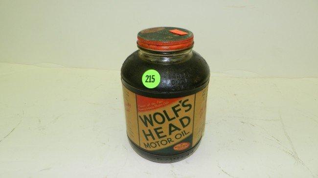 215 Glass Jar Wolf 39 S Head Motor Oil Lot 215